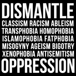 Dismantle classism, racism, ableism, transphobia, homophobia, islamophobia, fatphobia, misogyny, ageism, bigotry, xenophobia, antisemitism, oppression