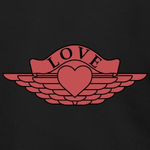 Love - Wings Design (Red/Black Outline) - Men's Zip Hoodie