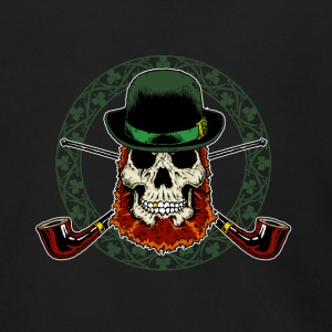 Leprechaun Skull with Crossed Pipes - Men's Zip Hoodie