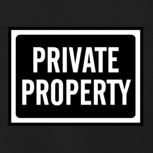 BLACK AND WHITE PRIVATE PROPERTY SIGN - Men's Zip Hoodie