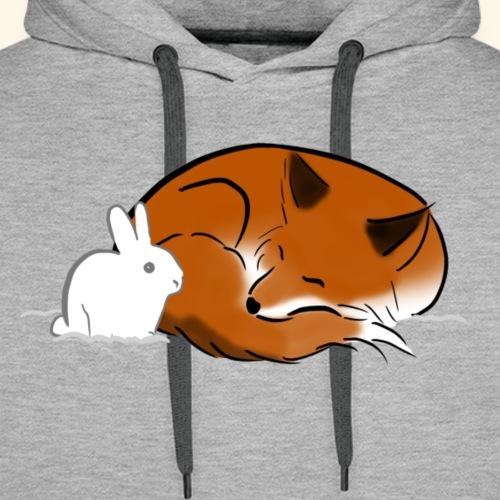 White Bunny and a Sleepy Fox - Men's Premium Hoodie