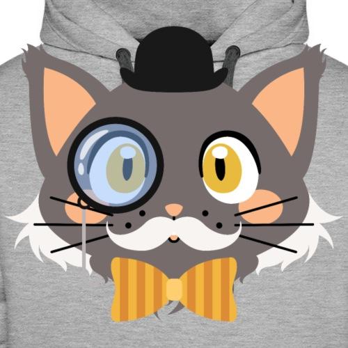 Friendly Gentleman Cat with Monocle and Bowler Hat - Men's Premium Hoodie