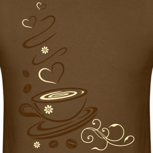 Coffee Cup with coffee beans and hearts. - Men's T-Shirt