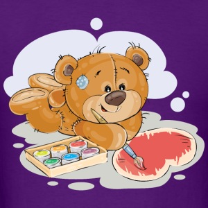 paint brush artist teddy bear - Men's T-Shirt