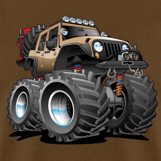 Off road 4x4 desert tan jeeper cartoon