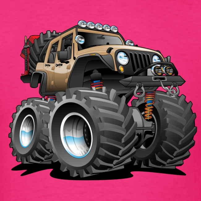 Off road 4x4 desert tan jeeper cartoon