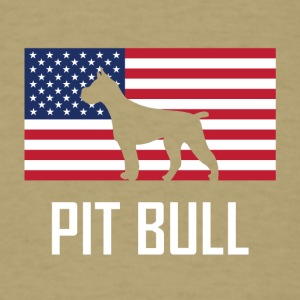 Pit Bull American Flag - Men's T-Shirt