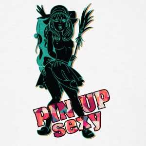 sexy_pin_up_girl_with_open_breast_black - Men's T-Shirt