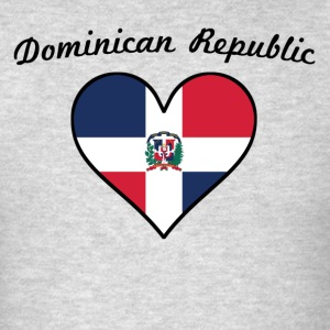 Dominican Republic Flag Heart - Men's T-Shirt