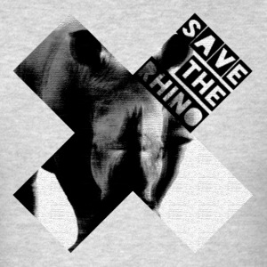 3D Save The Rhino (Black and White) - Men's T-Shirt