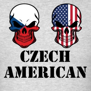 Czech American Flag Skulls - Men's T-Shirt