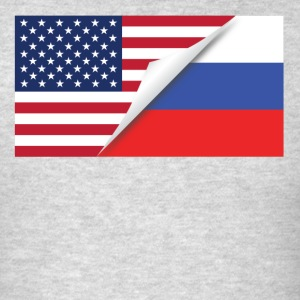 Half American Half Russian Flag - Men's T-Shirt