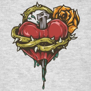 broken_heart_with_rose - Men's T-Shirt