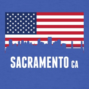 American Flag Sacramento Skyline - Men's T-Shirt