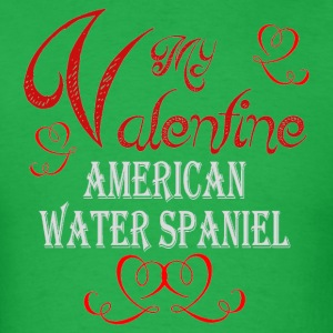A romantic Valentine withmy American Water Spaniel - Men's T-Shirt