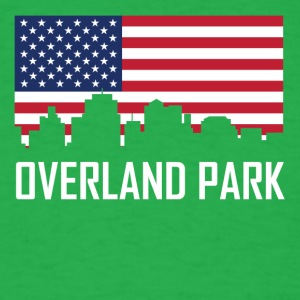 Overland Park Kansas Skyline American Flag - Men's T-Shirt