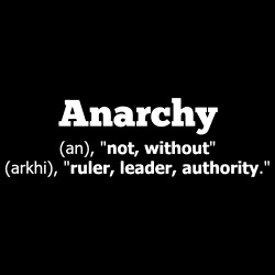 Anarchy definition: without ruler, leader, authority