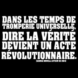 Dans les temps de tromperie universelle, dire la vérité devient un acte révolutionnaire. (George Orwell auteur de 1984)