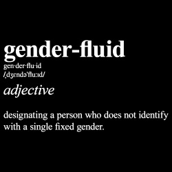 gender-fluid: designating a person who does not identify with a single fixed gender.
