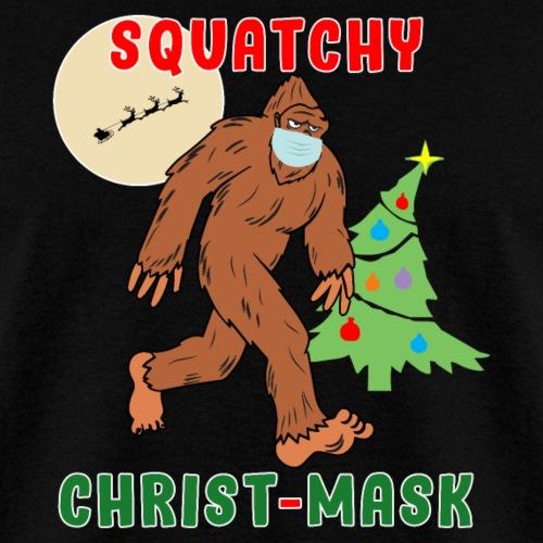 Bigfoot Squatchy Christmas Mask Social Distance. - Men's T-Shirt