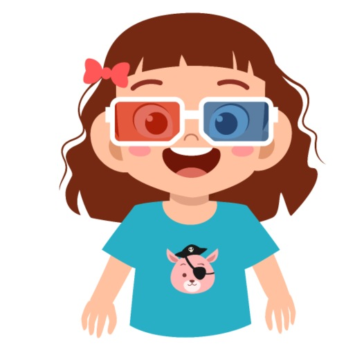 Girl red blue 3D glasses doing Vision Therapy - Men's T-Shirt