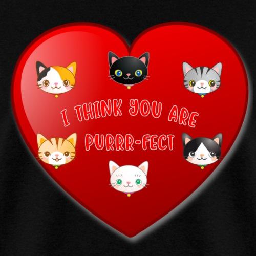 St Valentine Day Purr-fect Heart Alley Cat Pet Pun - Men's T-Shirt