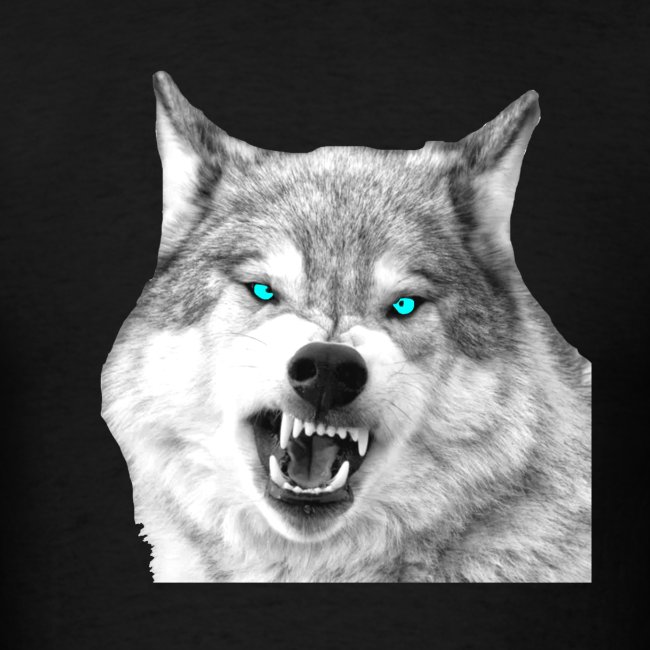 Wolf Snarling Blue Eyes
