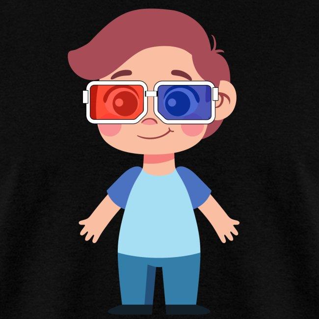 Boy with eye 3D glasses
