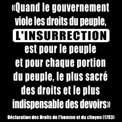 Quand le gouvernement viole les droits du peuple, l\'insurrection est pour le peuple et pour chaque portion du peuple, le plus sacré des droits et le