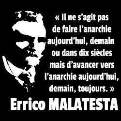 Il ne s\'agit pas de faire l\'anarchie aujourd\'hui, demain ou dans dix siècles mais d\'avancer vers l\'anarchie aujourd\'hui, demain, toujours (Errico Malatesta)