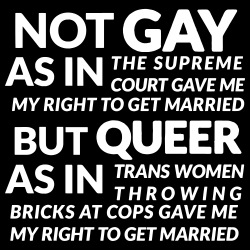Not gay as in the supreme court gave me my right to get married, but queer as in trans women throwing bricks at cops gave me my right to get married