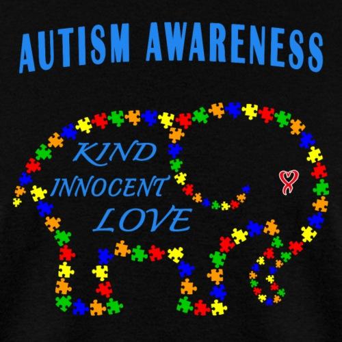 World Autism April Puzzle Heart Elephant Love Kids - Men's T-Shirt