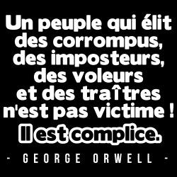 Un peuple qui élit des corrompus, des imposteurs, des voleurs et des traîtres n\'est pas victime! Il est complice. (George Orwell)