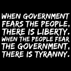 When government fears the people, there is liberty. When the people fear the government, there is tyranny
