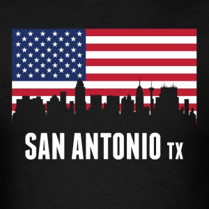American Flag San Antonio Skyline - Men's T-Shirt