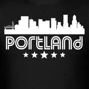 Retro Portland Skyline - Men's T-Shirt