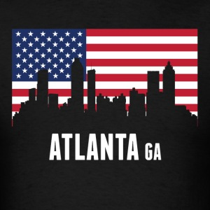 American Flag Atlanta Skyline - Men's T-Shirt