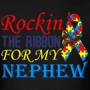 Rockin The Ribbon For My Nephew Awareness - Men's T-Shirt