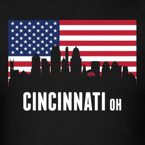 American Flag Cincinnati Skyline - Men's T-Shirt