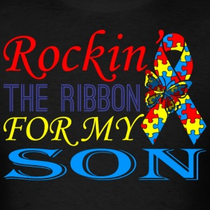 Rockin The Ribbon For My Son Awareness - Men's T-Shirt