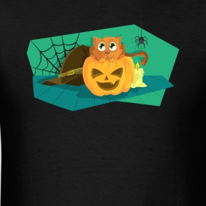 Cat in Fear on Pumpkin Halloween Design - Men's T-Shirt