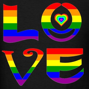 Rainbow Love Abstract Letters With Heart - Men's T-Shirt
