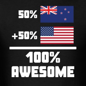50% New Zealand 50% American 100% Awesome Flag - Men's T-Shirt
