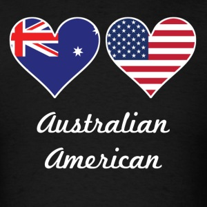 Australian American Flag Hearts - Men's T-Shirt