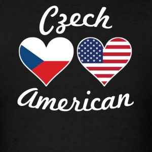 Czech American Flag Hearts - Men's T-Shirt
