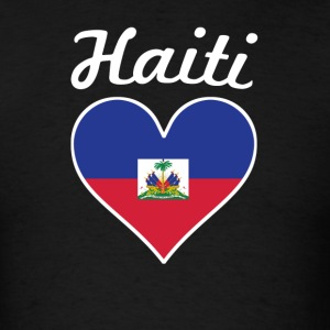 Haiti Flag Heart - Men's T-Shirt