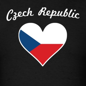 Czech Republic Flag Heart - Men's T-Shirt