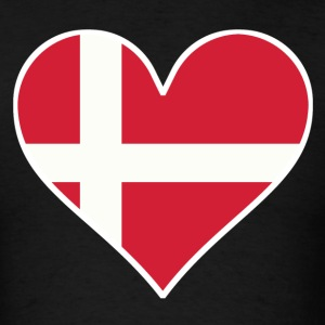 Danish Flag Heart - Men's T-Shirt