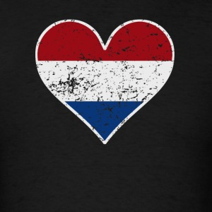 Distressed Dutch Flag Heart - Men's T-Shirt