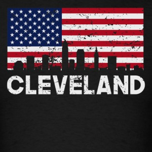 Cleveland OH American Flag Skyline Distressed - Men's T-Shirt